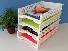 Stackable Desk Organizer Premium Plastic Desk Organizer Stackable A4 Paper Tray Pack Of
