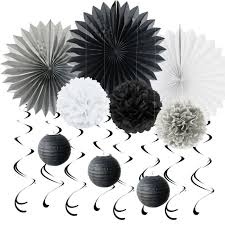 white paper fans black grey white paper decoration set swirls paper fans poms for