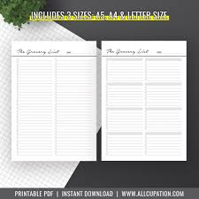 Menu Planner With Grocery List Template Meal Planner Printable Menu Planner Inserts Grocery List