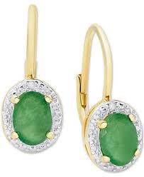 emerald drop earrings emerald 1 1 2 ct t w diamond accent drop earrings in 18k