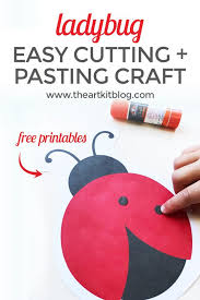 printable preschool cutting activities ladybug cutting and pasting activity for kids free printable