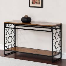 Metal Sofa Table Black And Pecan Top Sofa Table