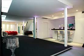 raised floor entertainment room interior design ideas