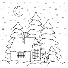 handdraw village house behind the fence coloring book page for