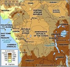 africa map elevation central africa britannica