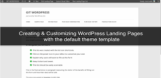 creating landing page with your default wordpress theme template
