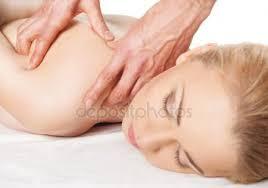 Rug Massage Kneuzingen Op Vrouw Rechter Schouder En Rug U2014 Stockfoto