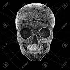 abtract spider web skull reform shape die concept stock photo