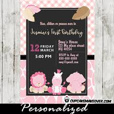 pink safari first birthday invitations personalized