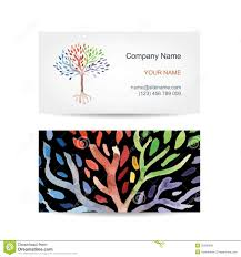 business card template design floral tree stock vector image