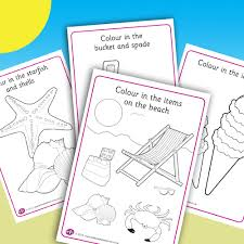 seaside colouring sheets early resources uk
