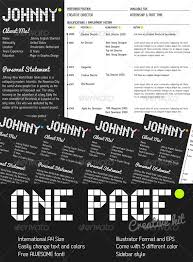 one page creative resume kit by kaixer graphicriver