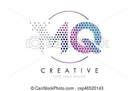 eps vector of mq m q pink magenta dotted bubble letter logo design