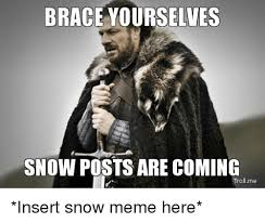 Funny Snow Memes - brace yourselves snow posts are coming tro me insert snow meme