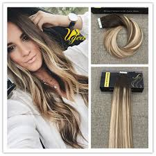 19 Inch Hair Extensions by Balayage Highlight Medium Brown Medium Blonde Pu Tape In Human