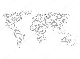 World Map Black And White World Map Mosaic Of White Dots U2014 Stock Vector Pyty 115474714