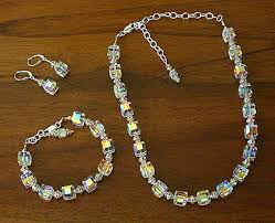 swarovski crystal necklace sets images Swarovski crystal 10mm cube necklace set crystal ab marathon books jpg