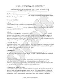 Letter Of Intent For Rental Of Space by Storage Rental Agreement Self Storage Unit Lease Agreement Form