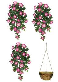 hanging flowers three 32 artificial petunia hanging flower bushes
