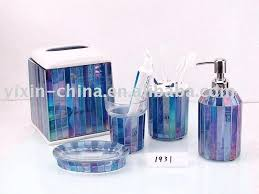 Cracked Glass Bathroom Accessories Mosaic Bathroom Accessories Silver Crackle Glass Set Buy