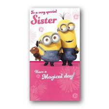 minions birthday card sister dormouse cards