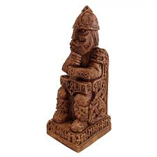 God Statue Seated Thor With Hammer Norse God Statue Wood Finish Celtic
