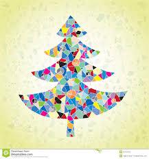 grunge mosaic christmas tree greeting card royalty free stock