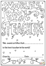 world u0027s best teacher diploma coloring page free printable