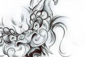 foo dog face tattoo design by sultzaberger