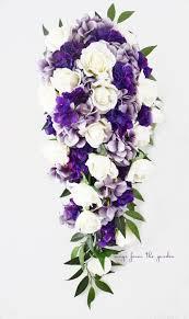 Purple Hydrangea Cascade Bridal Bouquet Real Touch White Roses Lavender Purple