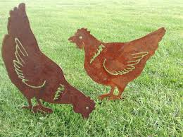 Garden Metal Art Rusty Hen Chicken Garden Art Chicken Gift Hen Silhouette
