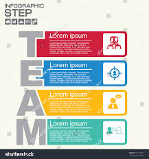 mi report template four steps team infographics report template stock vector