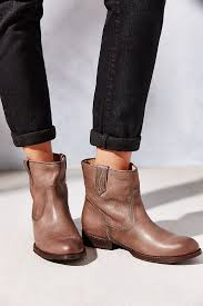 short moto boots frye jamie stitch short ankle boot in brown lyst
