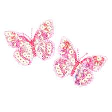 small butterfly iron on sequin applique pink discount designer