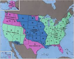Time Zones Map United States by United States Territorial Acquisitions Wikipedia