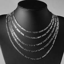 mens figaro chain necklace images Figaro chain curb silver plated male jewelry 4mm chains necklaces jpg