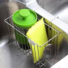 Amazoncom Kitchen Sponge Holder Aiduy Sink Caddy Brush Soap - Kitchen sink sponge holder