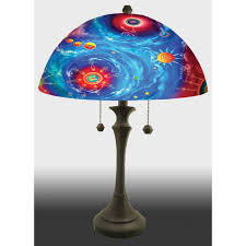 Glass Lamps Jamie Barthel Galaxys Reverse Hand Painted Glass Table Lamp