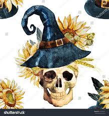 background pattern halloween watercolor pattern halloween pattern skull pumpkin stock
