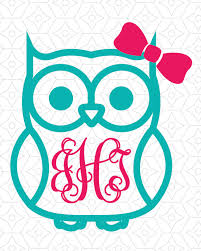 bow monogram owl with or without bow monogram frame decal design svg