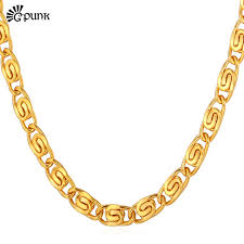 gold colored chain necklace images Snail necklace for men yellow gold color chain necklace 316l jpg