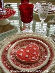 a valentine u0027s day tablescape table setting with diy candy bar