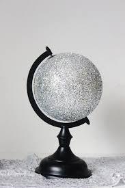 Small Desk Globe Glitter Silver Globe World Small Desk Globe With Rotating