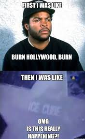 Ice Cube Meme - first i was like burn hollywood burn then i was like omg is this