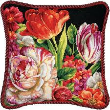 dimensions bouquet on black needlepoint kit 71 20079 123stitch
