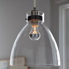 clear glass pendant lights for kitchen island industrial pendant glass west elm