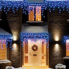 white led icicle lights 720 blue white led snowing icicle lights