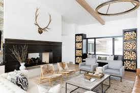 Fireplace Insight Firewoodshelves Modern Mountain Home By - Mountain home interior design