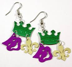 mardi gras earrings king of carnival earrings mardi gras green purple gold dangle