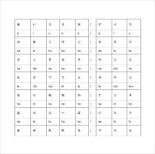 printable alphabet grid sle hiragana alphabet chart 8 documents in pdf word